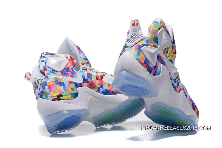 """5b857d0244 2018 Outlet Nike LeBron 13 """"Prism"""" Multi-Color/University Red-White  Basketball Shoes"""