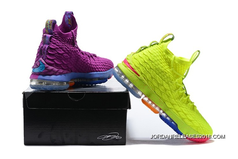 "07a46fd90a7bf2 For Sale What The Nike Lebron 15 ""Volt   Purple"""
