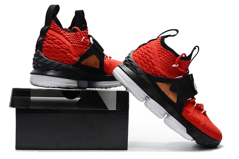 """24917f71661 Nike LeBron 15 """"Diamond Turf"""" Black And White In Challenge Red Free Shipping"""