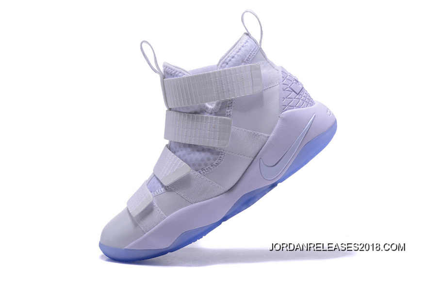 """ee5a7fd1f9f Nike LeBron Soldier 11 """"White Ice"""" White Black-Pure Platinum 2018 ..."""