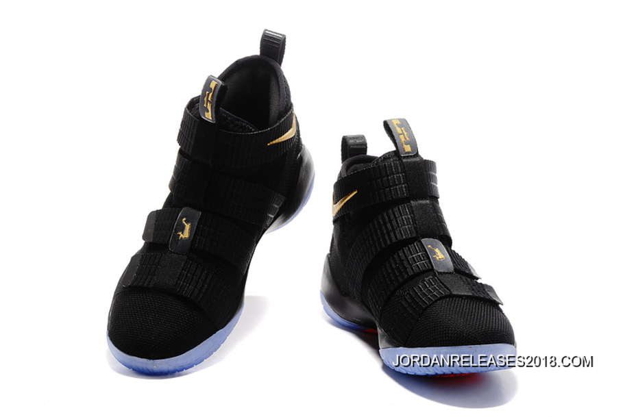 95c828501ac8 Nike LeBron Soldier 11 Black Gold Finals PE New Release