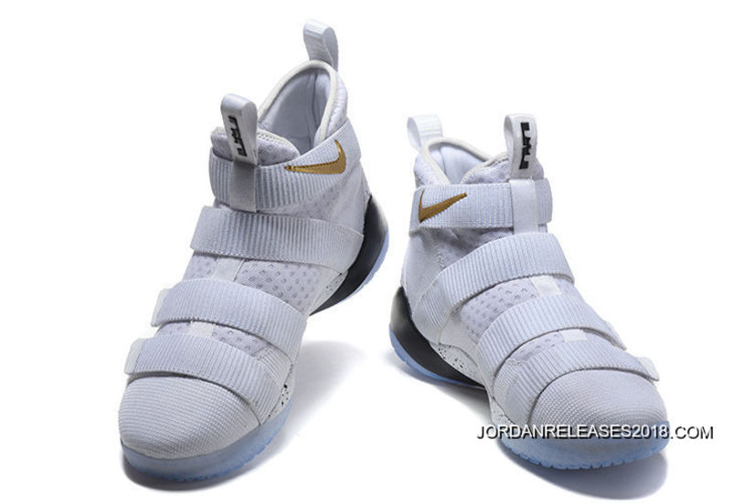 """c46926385ad 2018 Top Deals Nike LeBron Soldier 11 """"Court General"""" White Metallic Gold-  ..."""