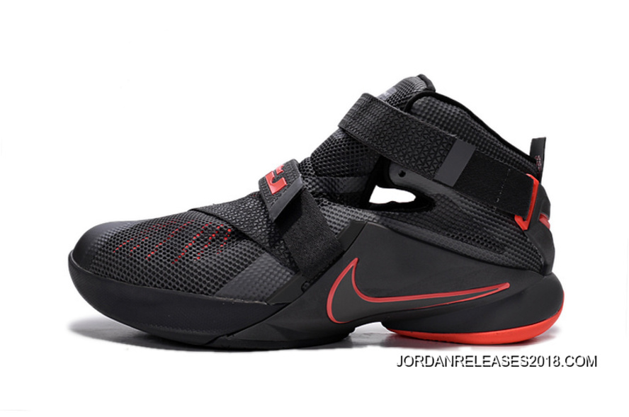 new arrival 9a9ac 0d72f Nike LeBron Soldier 9 Black And Red Highlights Basketball Shoe 2018 Free  Shipping