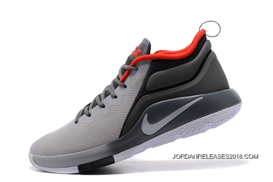 86552dde8ab2 2018 Discount Nike LeBron Zoom Witness 2 Grey Black Red Basketball Shoes