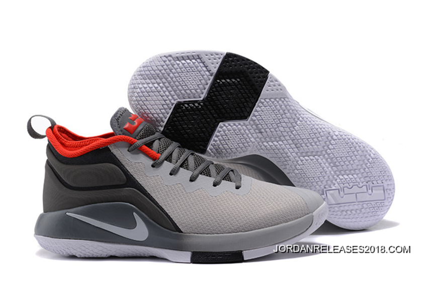 501fbaf1f544 2018 Discount Nike LeBron Zoom Witness 2 Grey Black Red Basketball Shoes