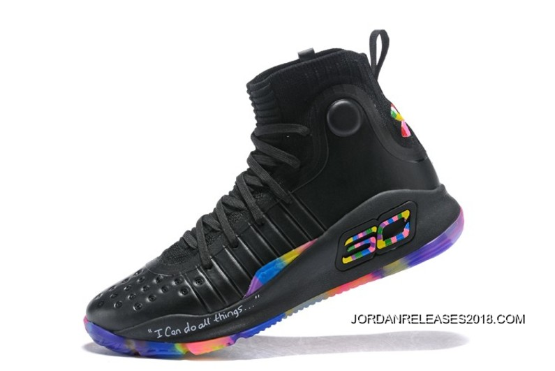 """a7f76f4c490ebf 2018 Discount Under Armour Curry 4 """"Fruity Pebbles"""" Black Multi-Color"""
