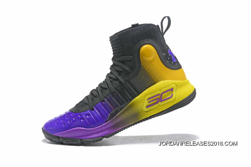 d5ac7dbd81d4 Under Armour Curry 4 Black Purple Yellow 2018 New Style
