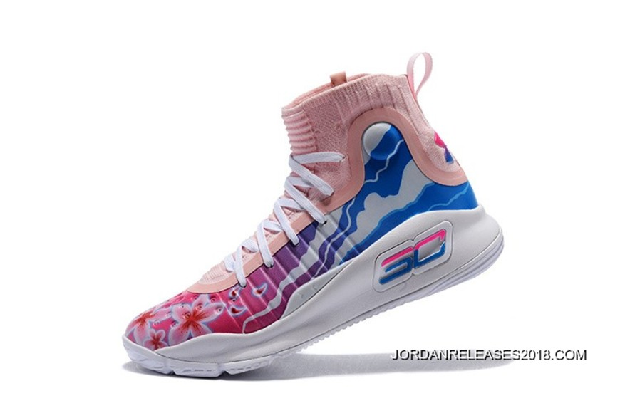 "64e93881d7c8 Outlet Under Armour Curry 4 ""Floral"" White Pink Blue"