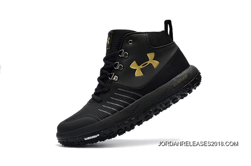 56886eccebd 2018 Online Under Armour Fat Tire GTX Black Gold Hiking Boots Trail Shoes
