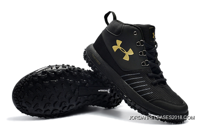 b25d9c7ad25 2018 Online Under Armour Fat Tire GTX Black Gold Hiking Boots Trail Shoes